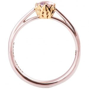 Leaves Two Tone Engagement Ring Yellow Gold and Diamond R024