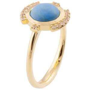 Turquoise Engagement Ring Yellow Gold and Diamonds