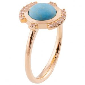 Turquoise Engagement Ring Rose Gold and Diamonds