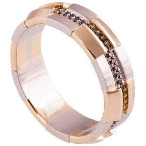 Men's Wedding Band Rose Gold and Black Diamonds BNG19