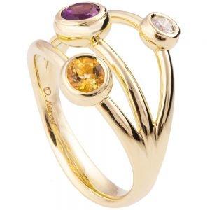 טבעת בעיצוב מודרני עשויה זהב צהוב משובצת באבני חן ויהלום R023