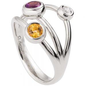 Multi Stone Ring White Gold R023