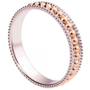 Two Tone Milgrain Wedding Band Rose Gold R030