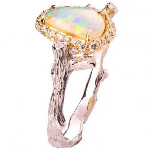 Twig Opal and Diamonds Engagement Ring Yellow Gold 10