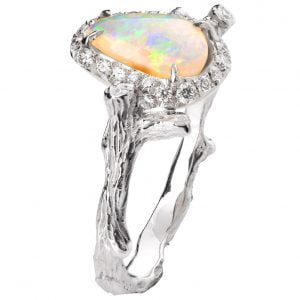 Twig Opal and Diamonds Engagement Ring White Gold 10