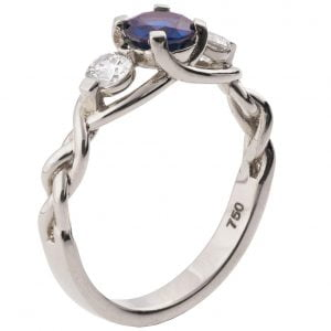 Braided Three Stone Engagement Ring White Gold and Sapphire 7