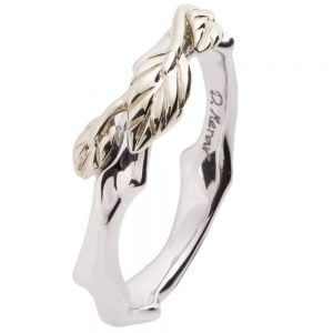 Twig and Leaf Wedding Band Platinum 7