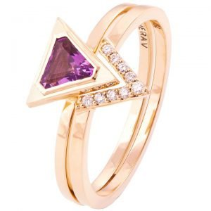 Triangle Wedding Set Rose Gold and Amethyst R021