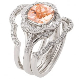 Lotus Bridal Set Platinum and Morganite R022