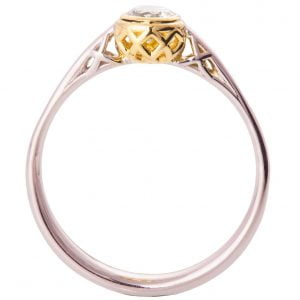 Two Tone Engagement Ring Yellow Gold and Diamond R017