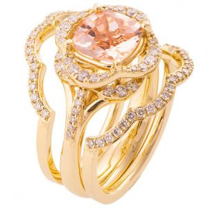 Lotus Bridal Set Yellow Gold and Morganite R022
