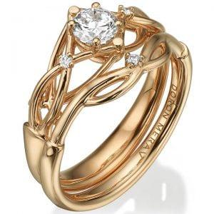 Celtic Bridal Set Rose Gold and Diamonds ENG9