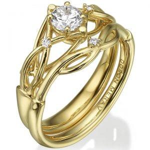 Celtic Bridal Set Yellow Gold and Diamonds ENG9