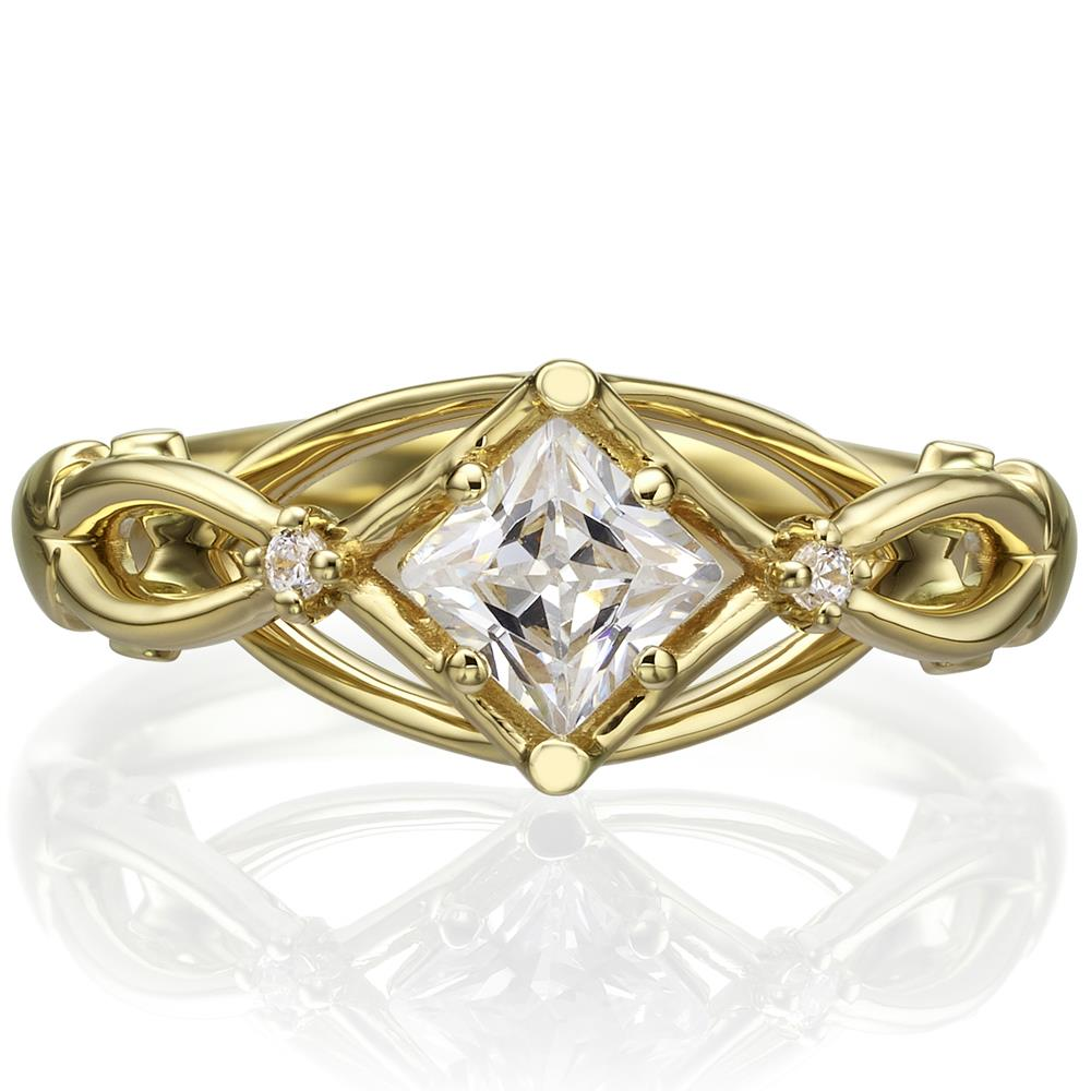 Princess Cut Celtic Engagement Ring Yellow Gold And
