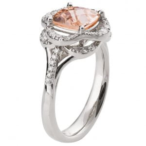 Lotus Engagement Ring White Gold and Morganite R022
