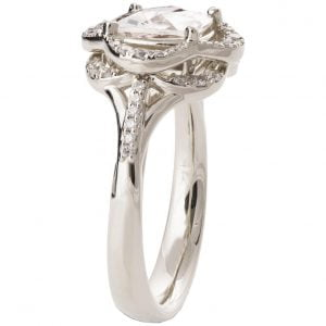 Lotus Engagement Ring White Gold and Moissanite R022