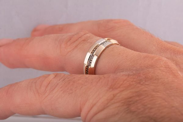 Men S Wedding Band Yellow Gold And Black Diamonds Bng19