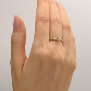 Twig Engagement Ring Yellow Gold and Diamond 3