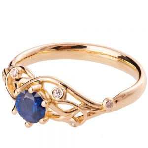 Knot Engagement Ring Rose Gold and Sapphire ENG17