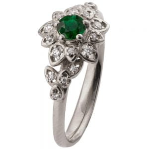 Flower Engagement Ring Platinum and Emerald 2B