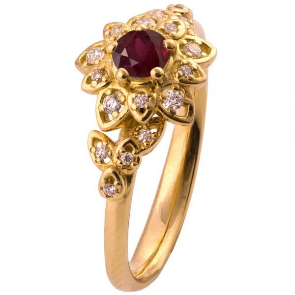 Flower engagement ring yellow gold and ruby 2b doron merav flower engagement ring yellow gold and ruby 2b mightylinksfo