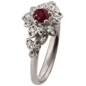 Flower Engagement Ring Platinum and Ruby 2B