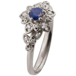 Flower Engagement Ring White Gold and Sapphire 2B