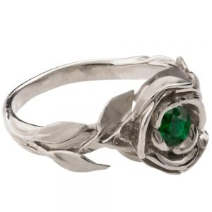 Rose Engagement Ring #1 White Gold and Emerald