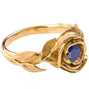 Rose Engagement Ring #1 Yellow Gold and Sapphire