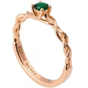 Braided Engagement Ring Rose Gold and Emerald 2s