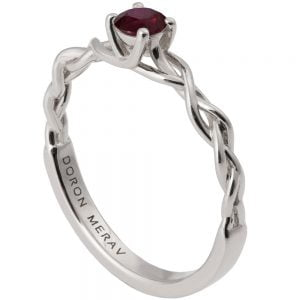 Braided Engagement Ring White Gold and Ruby 2s