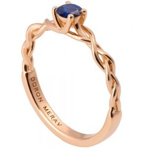 Braided Engagement Ring Rose Gold and Sapphire 2s