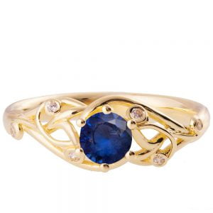 Knot Engagement Ring Yellow Gold and Sapphire ENG17