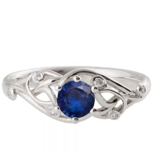 Knot Engagement Ring Platinum and Sapphire ENG17