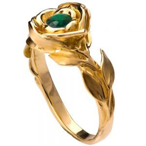 Rose Engagement Ring #1 Yellow Gold and Emerald
