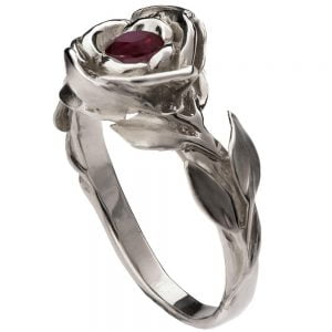Rose Engagement Ring #1 Yellow Gold and Ruby