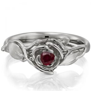 Rose Engagement Ring #3 Platinum and Ruby