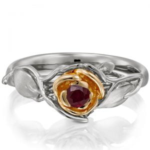 Rose Engagement Ring #3 Two Tone Rose Gold and Ruby