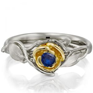 Rose Engagement Ring #3 Two Tone Yellow Gold and Sapphire