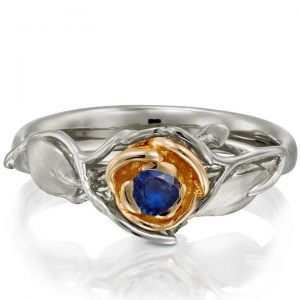 Rose Engagement Ring #3 Two Tone Rose Gold and Sapphire