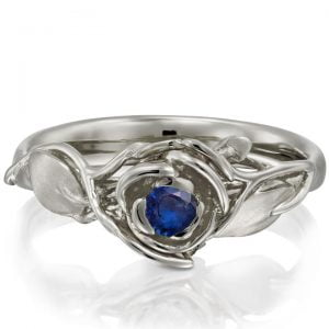 Rose Engagement Ring #3 White Gold and Sapphire