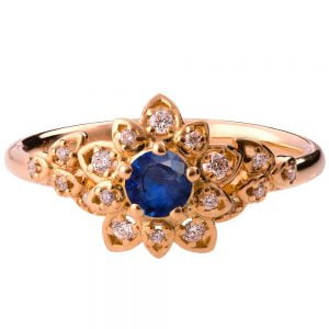 Flower Engagement Ring Rose Gold and Sapphire 2B