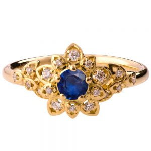 Flower Engagement Ring Yellow Gold and Sapphire 2B