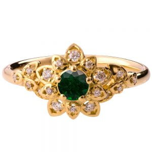 Flower Engagement Ring Yellow Gold and Emerald 2B