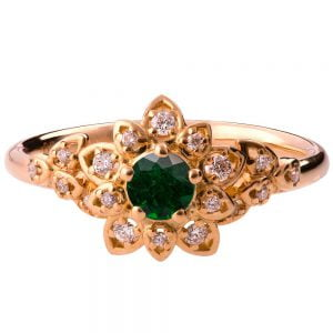Flower Engagement Ring Rose Gold and Emerald 2B