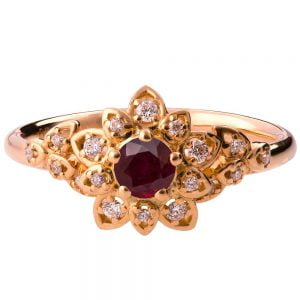 Flower Engagement Ring Yellow Gold and Ruby 2B
