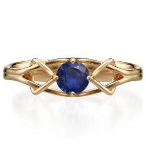 Celtic Engagement Ring Yellow Gold and Sapphire ENG10