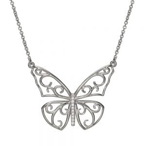 Butterfly Pendant White Gold and Diamonds