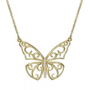 Butterfly Pendant Yellow Gold and Diamonds