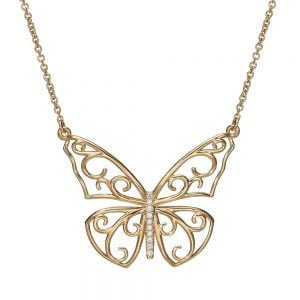 Butterfly Pendant Rose Gold and Diamonds